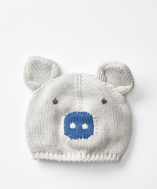 c85830c6d73 GAP Baby Boys Size Newborn Gray   Blue Piggy   Piglet Animal Sweater Hat w  Ears