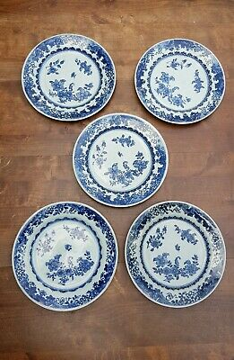 5 Antique 18c.chinese Blue And White Floral Fence Porcelain Dishes Plates 8.85""