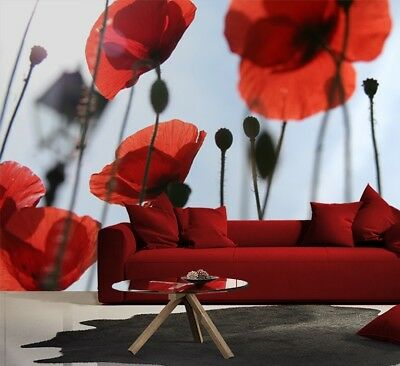 Wall Mural photo Wallpaper FLOWER modern wallcovering Red Poppy Flower bedroom