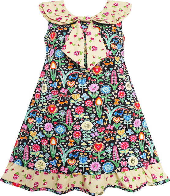 Sunny Fashion Girls Dress Bow Tie Yellow Floral Turn-Down Collar And Trim 4-10