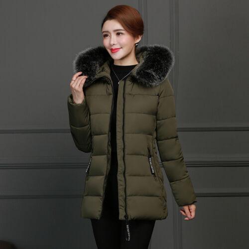 Coat Jacket Parka Padded Women Ladies Down Fur Collar Hooded Winter Overcoat