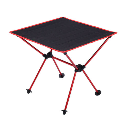 Folding Camping Table Lightweight Portable Outdoor Aluminium Frame Red
