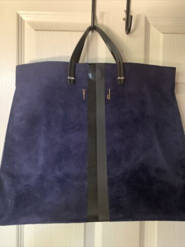 Claire V Simple Blue Suede Tote - image 1