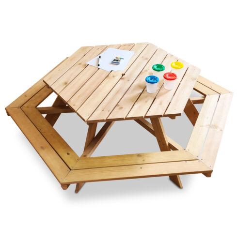 Coemo 6 eckige Kindersitzgruppe Lars Picknicktisch Holz für bis zu 6 Kinder