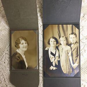Antique Photographs Woman Little Girl Boy Children Harvard Purdue 1920s Art Deco