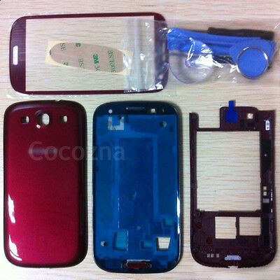 Red Replacement Housing Case + Screen Glass Tools For Samsung Galaxy S3 i9300