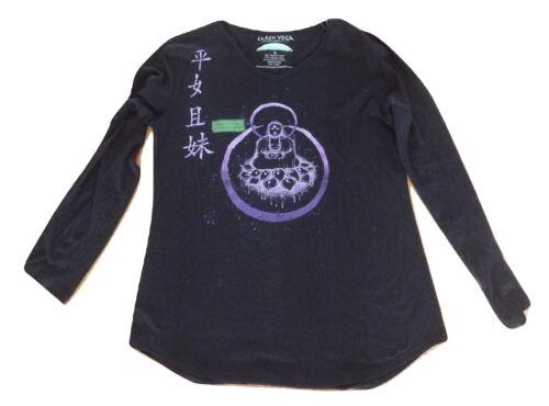 NWT Earth Yoga Black  Organic Cotton Long Sleeve Burnout Shirt