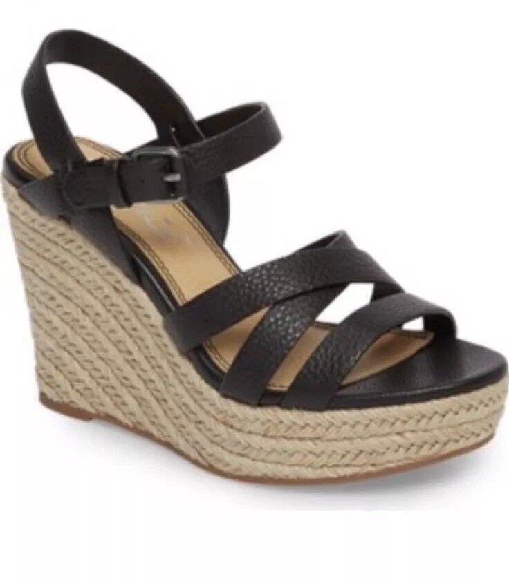 New  148 Splendid Billie nero Leather Espadrille Wedges Sandals Dimensione 10