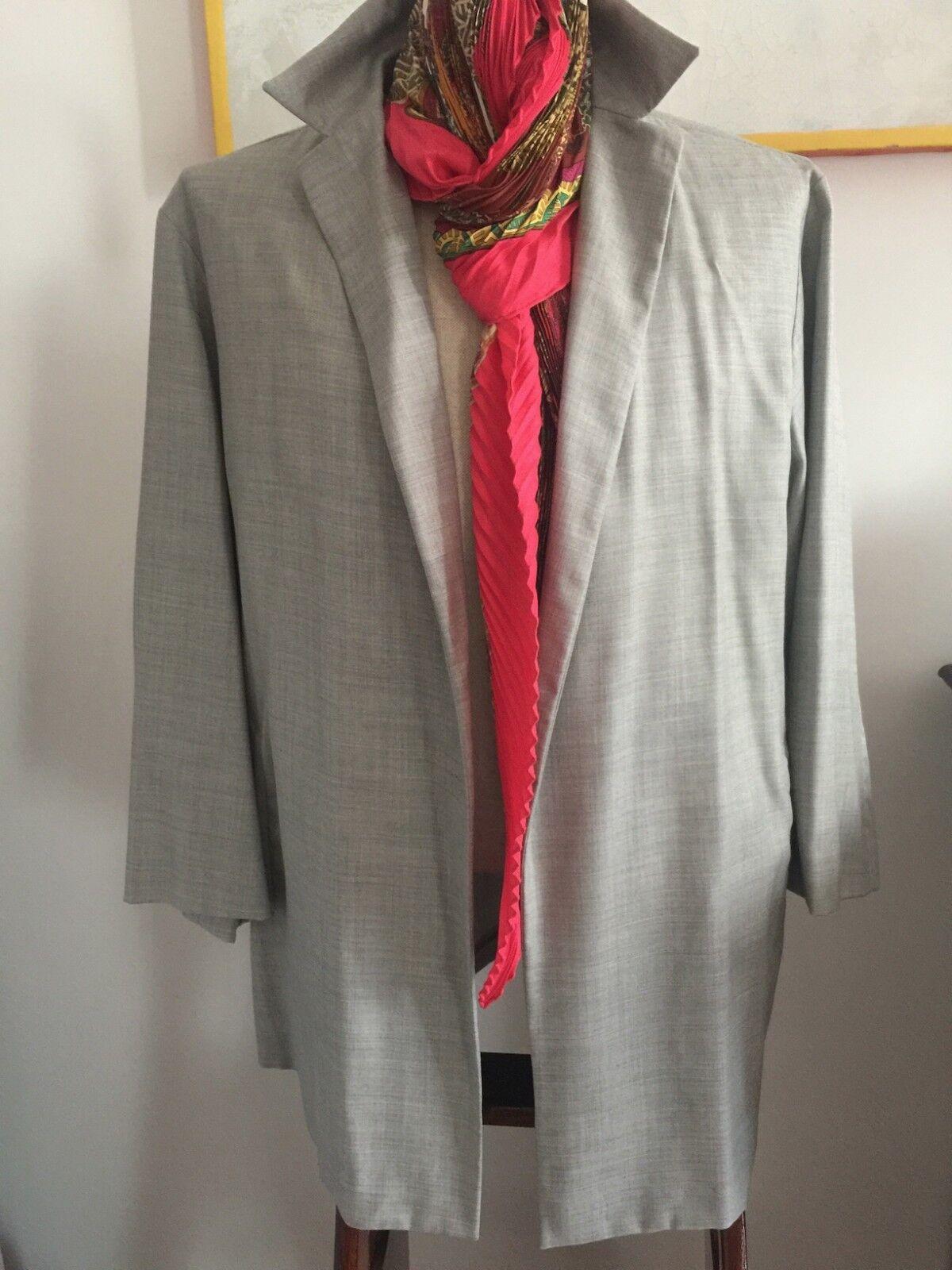 AGNONA NUOVA splendida camicia sfoderata in lana e seta taglia 44 grey perla.