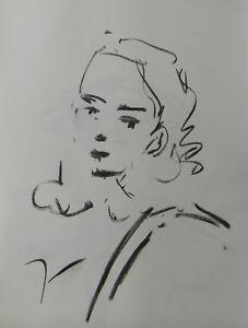 JOSE TRUJILLO - Contemporary ORIGINAL CHARCOAL DRAWING SIGNED DECOR WOMAN ART