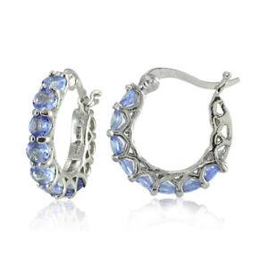 Image Is Loading Sterling Silver Tanzanite Small Round Huggie Hoop Earrings