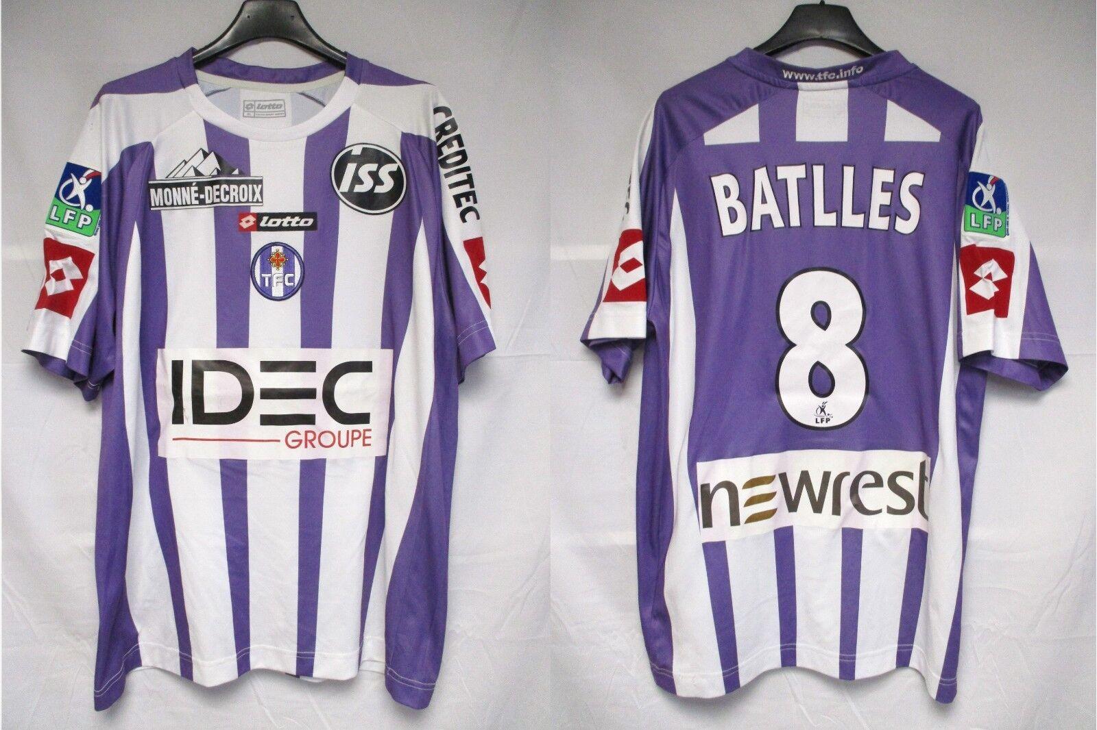 Maillot TOULOUSE F.C 2007 porté BATTLES n°8 LOTTO vintage shirt LFP trikot XL
