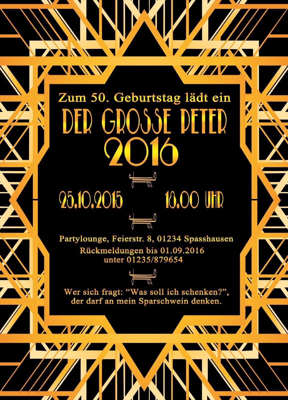 Einladung zum Geburtstag Retro Gold Gatsby Party 30 40 50 60 70 Eintrittskarte
