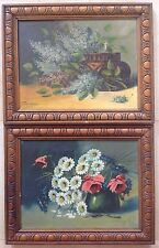 Paire de nature morte huile sur toile années 20/30 Francisco cadres art nouveau