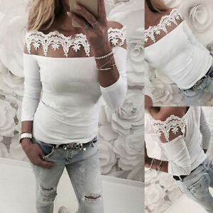 Women-039-s-Sexy-Lace-Long-Sleeve-T-Shirt-Tops-Ladies-Off-The-Shoulder-Top-Blouse
