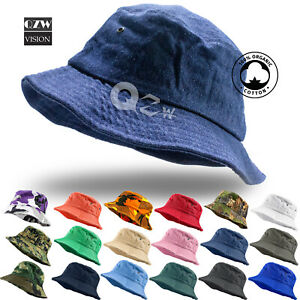 Bucket-Hat-Cap-Cotton-Fishing-Boonie-Brim-visor-Sun-Safari-Summer-Men-Camping