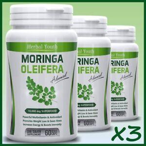3-x-Moringa-Oleifera-LEAF-EXTRACT-Capsules-10-000mg-SUPERFOOD-Multivitamin-Pill