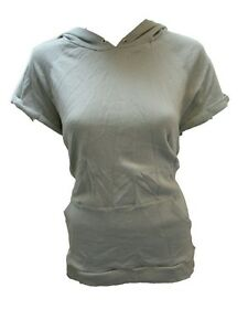 Select Women/'s Light Weight Hoodie Tops Short Cap Sleeves Grey New NWT Pink
