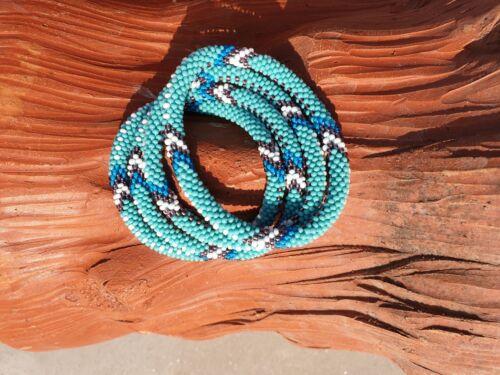 Népal Bracelet Glass Seed Bead Roll Over Hand Crochet Fait Main Bracelets