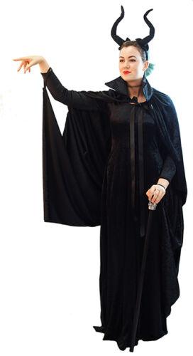HALLOWEEN//Evil Fairy Queen MALEFICENT DRESS CAPE /& HORNS All Ladies Plus Sizes