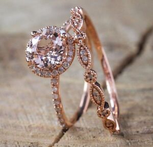 Antique 18K Rose Gold Morganite Gemstone Ring Set Wedding Women