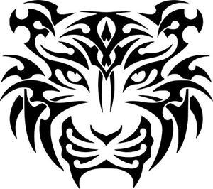 tiger head tribal tattoo art car wall laptop bike window vinyl sticker decal ebay. Black Bedroom Furniture Sets. Home Design Ideas