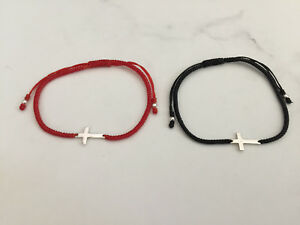 925-Sterling-Silver-Sideway-Cross-Macrame-Cord-Friendship-Bracelet-Women-Men