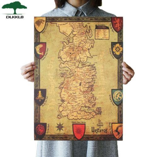 Game of Thrones Westeros Map Retro Kraft Poster Interior Bar Cafe Decorative