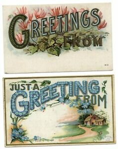 LOT-OF-2-Large-letter-floral-Greetings-From-embossed-c1910-postcard