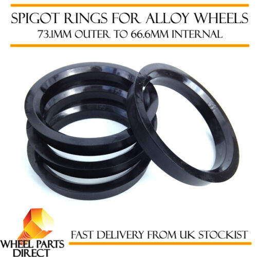 14-16 Spigot Rings W205 4 73.1mm to 66.6mm Spacers Hub for Mercedes C-Class