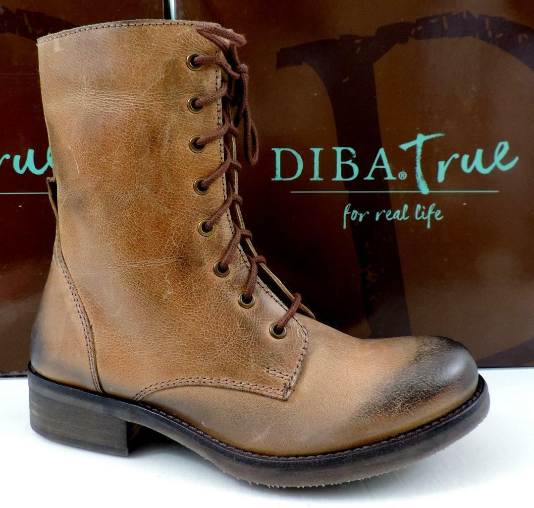 Women's Shoes Diba True JUMP BACK Lace Up Zip Combat Boots Leather Tan Size 7.5