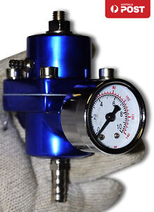 UNIVERSAL-SILVER-FUEL-PRESSURE-REGULATOR-WITH-GAUGE-30-140-PSI-ADJUSTABLE-BLUE