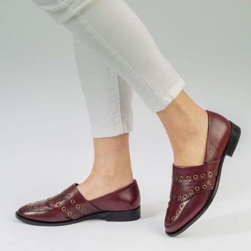 UK Size 3 4 5 6 7 8 Womes Ladies Leather Heel Burgundy Fashion Slip On Loafer