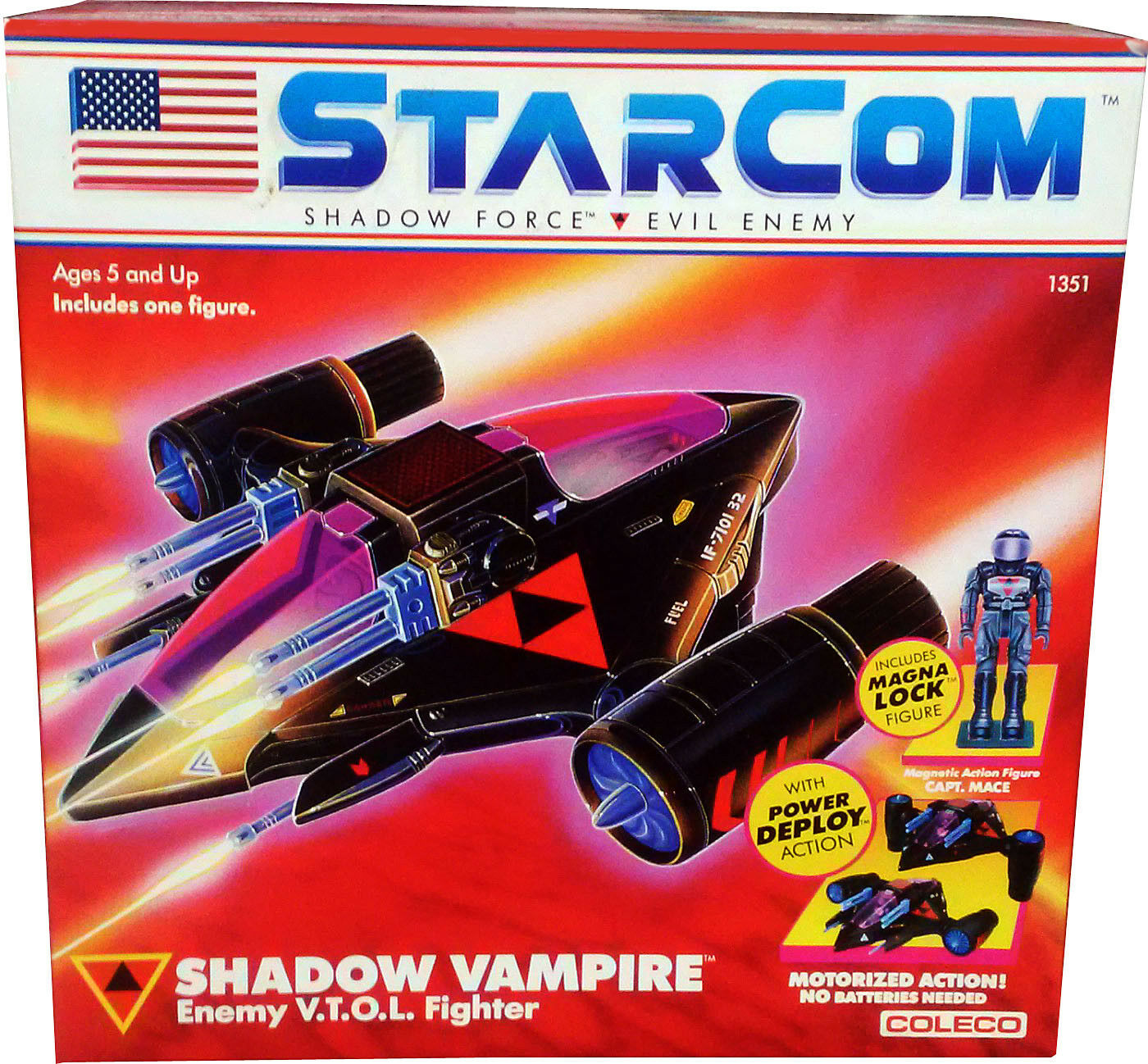 StarCom Shadow Vampire Enemy V.T.O.L. Fighter - Vintage 1986 - MISB New  AFA IT