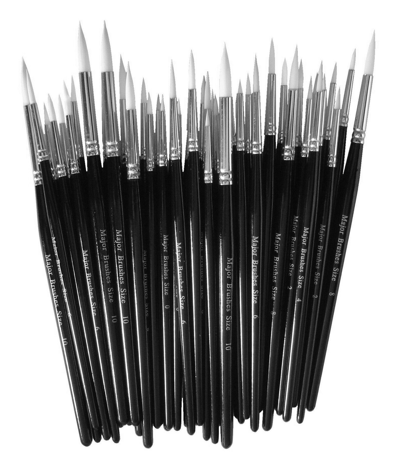 PACK 10 SIZE 2 WHITE SABLE ROUND ARTIST ACRYLIC WATERCOLOUR PAINT BRUSHES 53402