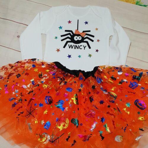 Baby Girls SPIDER outfit Costume 1st Halloween Tutu Gift Bodysuit VEST Top UK