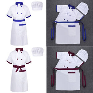 02f54d6b1 Child Kids Cook Chef Costume Jacket Apron with Hat Cosplay Fancy ...