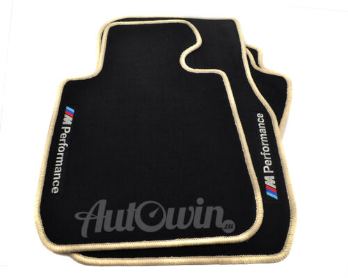 BMW 4 Series F33 Black Floor Mats Beige Rounds With M Performance Emblem Clips