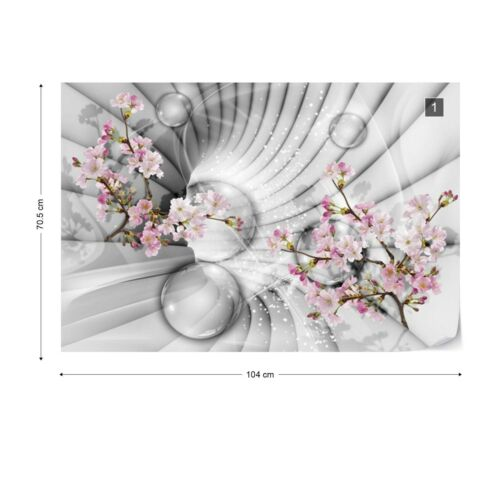 Wall Mural Photo Wallpaper EASY-INSTALL Fleece 3D Tunnel Colored Flowers Spheres