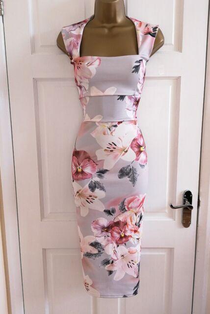New Women/'s Floral Print Midi Party Bodycon Pencil Occasion Dress Size 8-18
