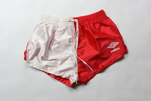 Vintage-90s-New-Umbro-Youth-Large-Spell-Out-2-034-Shiny-Nylon-Soccer-Shorts-Red