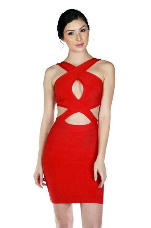 Short Bandage Dress with Cut Outs