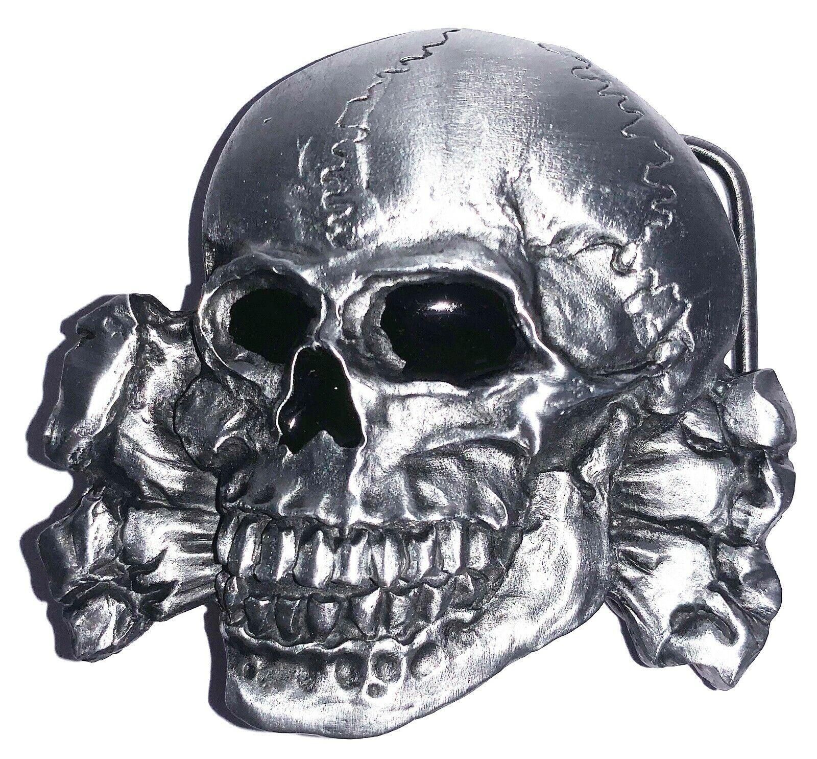 Belt Buckle SKULL AND BONES Gothic Horror by Dragon Designs