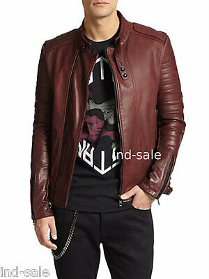 Custom Tailor Made Distressed Thick Leather Jacket Biker Designer Stylish Brown