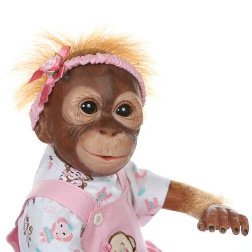 "Lifelike Baby Orangutan Dolls Twins Realistic Ape Babies Reborn Monkey Dolls 21/"""