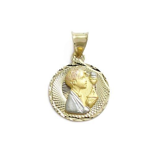 14K Gold 3-Tone Dia Cut Catholic Confirmation Boy Charm Pendant