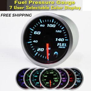 Electric-0-140-Psi-Fuel-Pressure-Gauge-Chrome-Face-2-034-Diameter-1-8-034-NPT