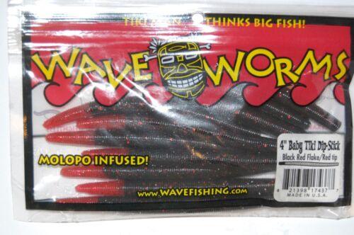 "wave worm 4/"" baby tiki dip-stick bass plastic worm black red flake red tip"