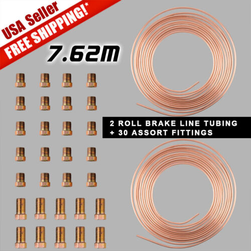 "2XSteel Copper Steel 3//16/""OD Brake Line Tubing Kit+30Pcs 15-21mm Gold Fittings"