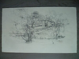 Dibujo-Original-a-Lapiz-de-Rene-William-Firmado-R-w-Thomas